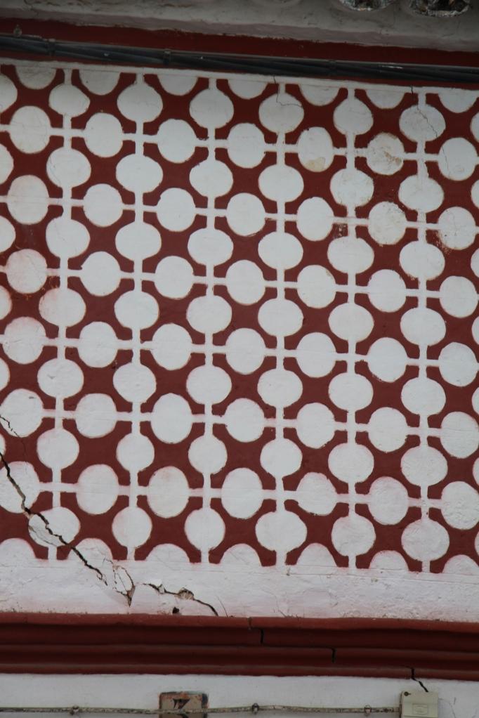 close up painted wall