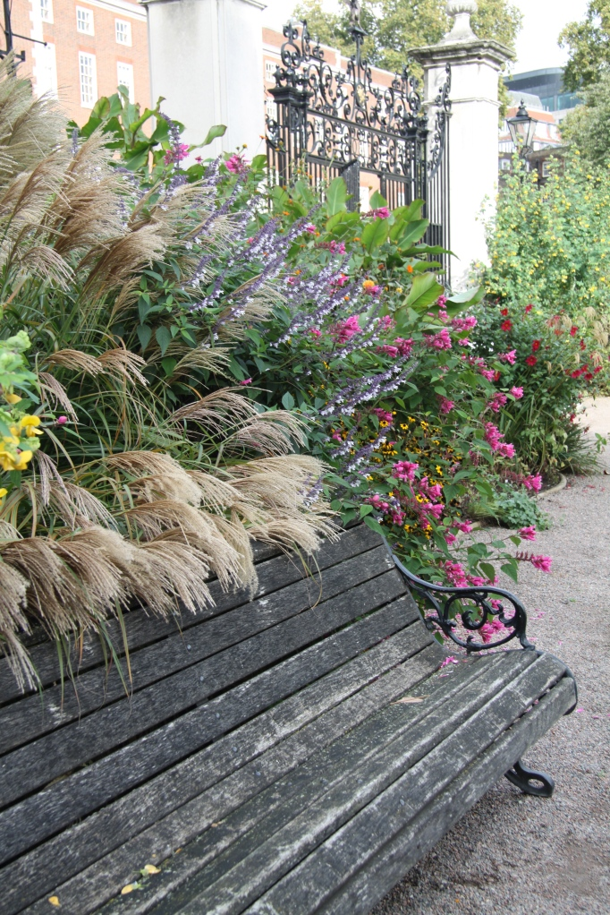Iinner temple bench with miscanthus