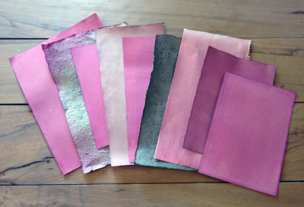 SELECTION OF PAPERS COATED WITHONE AND TWO LAYERS OF BEETROOT DYE COPYRIGHT NETTIE EDWARDS @lymilyon 2014