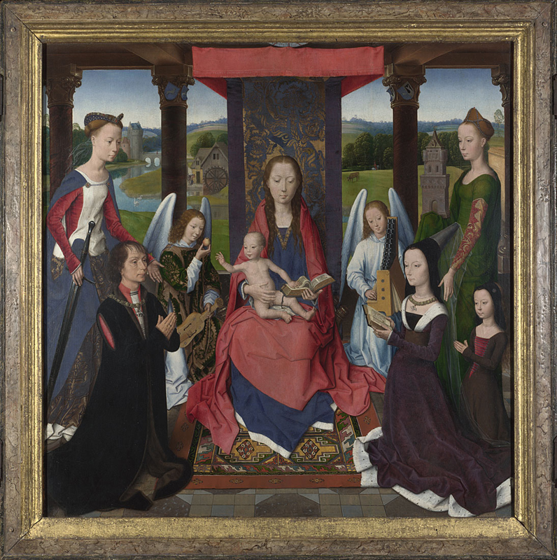 Hans Memling, active 1465; died 1494 The Virgin and Child with Saints and Donors (The Donne Triptych) about 1478 Oil on oak, 71 x 70.3 cm Acquired under the terms of the Finance Act from the Duke of Devonshire's Collection, 1957 NG6275.1 This painting is part of the group: 'The Donne Triptych' (NG6275.1-NG6275.3) http://www.nationalgallery.org.uk/paintings/NG6275.1