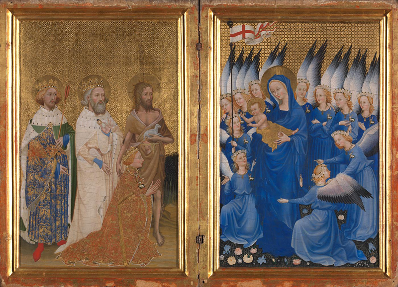 English or French (?) Richard II presented to the Virgin and Child by his Patron Saint John the Baptist and Saints Edward and Edmund ('The Wilton Diptych') about 1395-9 Egg on oak, 53 x 37 cm Bought with a special grant and contributions from Samuel Courtauld, Viscount Rothermere, C.T. Stoop and The Art Fund, 1929. NG4451 http://www.nationalgallery.org.uk/paintings/NG4451