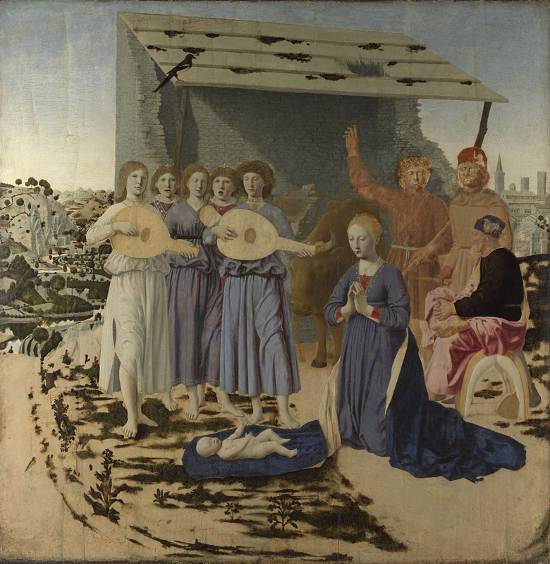 Piero della Francesca, about 1415/20 - 1492 The Nativity 1470-5 Oil on poplar, 124.4 x 122.6 cm Bought, 1874 NG908 http://www.nationalgallery.org.uk/paintings/NG908