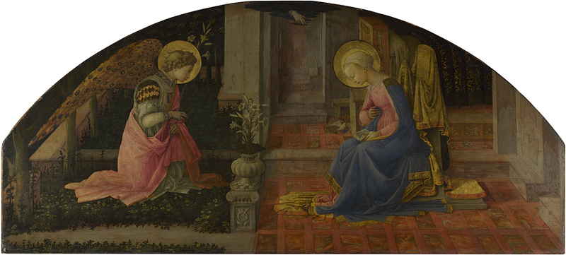 Fra Filippo Lippi, born about 1406; died 1469 The Annunciation about 1450-3 Egg tempera on wood, 68.6 x 152.7 cm Presented by Sir Charles Eastlake, 1861 NG666 This painting is part of the group: 'Medici (Overdoor?) Panels' (NG666-NG667) http://www.nationalgallery.org.uk/paintings/NG666