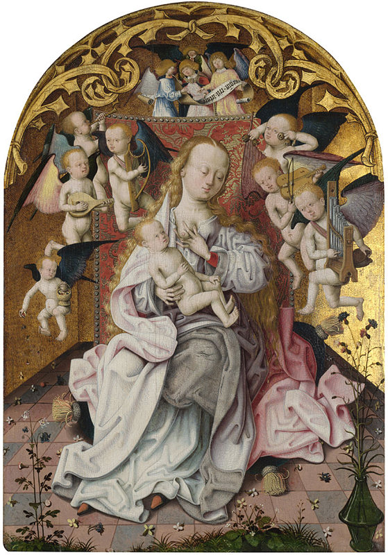 Master of the Saint Bartholomew Altarpiece, active about 1470 to about 1510 The Virgin and Child with Musical Angels about 1485-1500 Oil on oak, 52 x 38 cm Bought, 1985 NG6499 http://www.nationalgallery.org.uk/paintings/NG6499