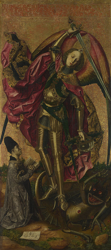 Bartolomé Bermejo, about 1440 - after 1495 Saint Michael triumphant over the Devil with the Donor Antonio Juan 1468 Oil and gold on wood, 179.7 x 81.9 cm Bought by Private Treaty Sale with a grant from the American Friends of the National Gallery, London, made possible by Mr J. Paul Getty Jnr's Endowment Fund, 1995 NG6553 http://www.nationalgallery.org.uk/paintings/NG6553